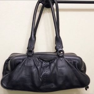 Authentic Cole Haan pewter grey leather handbag